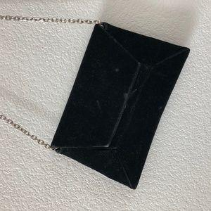 Stuart Weitzman Black Velvet Envelope Clutch